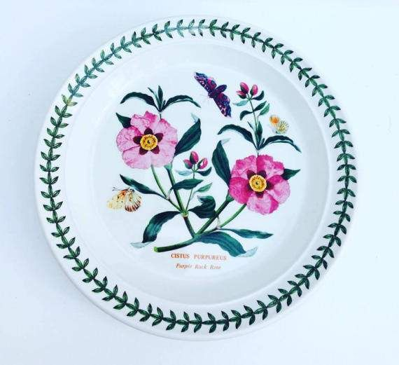 "Here is a Portmeirion Dinner Plate in its highly sort after Botanical Garden pattern decorated with the "" Cistus Purpureus "" Purple Rock Rose flowers with butterflies , made in 1970 , It is truly lovely, bright and shiny. china replacement  The saucer has a leaves  green garde.  The dish measures 21,5 cm D  and the saucer 15,3 cm D  Both are in perfects conditions, no chips, no cracks    A true British classic, Botanic Garden was designed by the celebrated designer Susan Williams-Ellis using…"