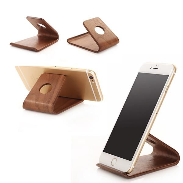 Wooden Desktop Universal Cell Phone Holder Mount Stand For iPhone Samsung HTC