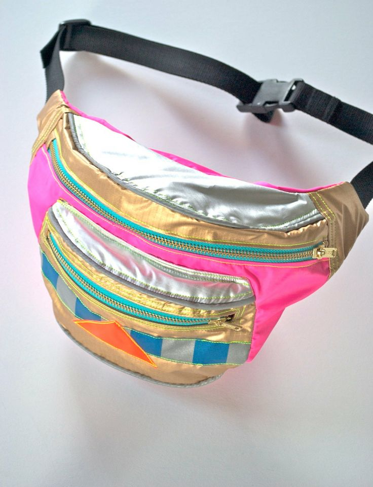 90's child WATERPROOF bumbag fanny pack PINK GOLD and silver reflective bag. metal ykk zips.