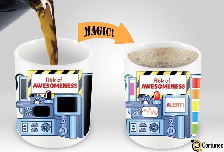 Magic Coffee Mugs Heat Sensitive Color Changing Coffee Mug Good Gift Mug Risk Of Awesomeness Design 11oz 100% Ceramic Black Mug