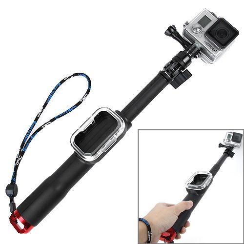 TMC Fold Retractable Handheld Remote Pole Monopod with Screw for GoPro Hero 4 / 3+ / 3 / 2 / 1, Max Length: 98cm(Red)