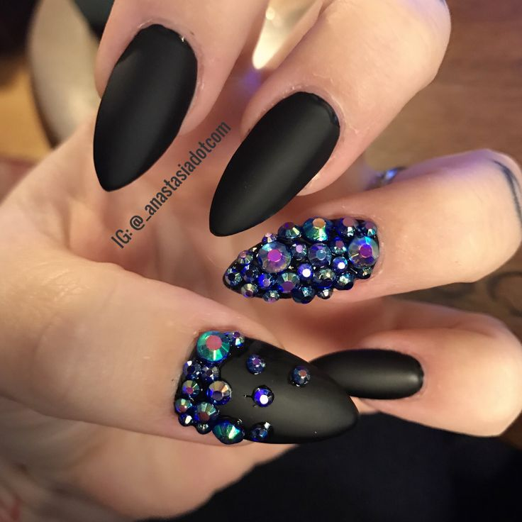 Matte black with multichrome stones.