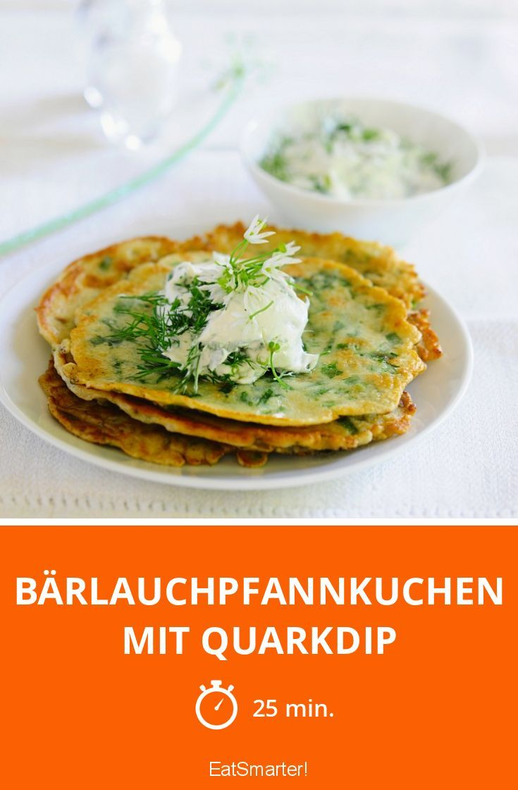 Bärlauchpfannkuchen mit Quarkdip