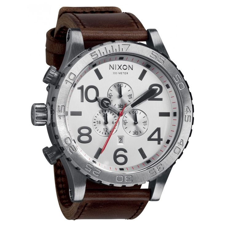 Nixon 51-30 Chrono Leather Gunmetal Brown