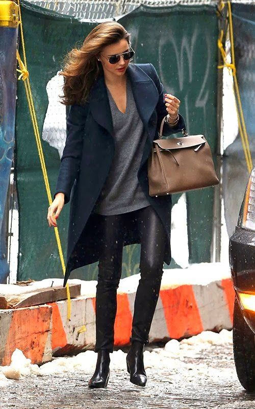 Now, if only I could look that chic in leather pants. | Miranda Kerr, via la dolce vita
