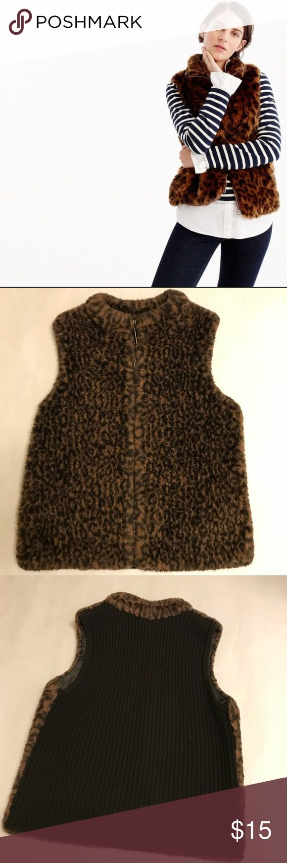 Leopard Faux Fur Zip Up Vest! ****First image IS NOT actual product just used for styling tip**** Cute faux fur animal Print vest with sweater back. Zips. In EUC! No flaws that I can find I only wore it a handful of times. Size S. From a clean and smoke free home! Jackets & Coats Vests