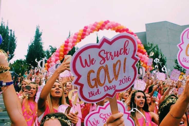 We struck gold - great way to incorporate dphie colors (with purple) for a bid day theme