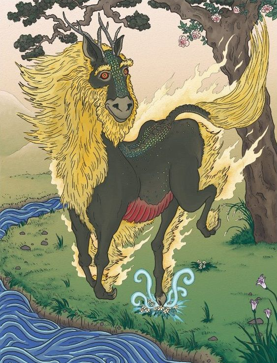 An image of a Kirin. In Japanese Mythology, Kirin is a powerful and majestic beast that wields immense strength and punishes those that are evil. However the creature still remains a mystery. The legends say that it has antlers like a deer, scales like a dragon, hooves like an ox, and a tail like a lion. It is also believed that when a Kirin travels from place to place, it can spread peace wherever it travels.