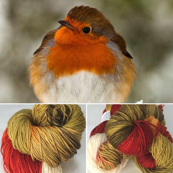 European Robin on 80/20 sock yarn. Visit songbirdfibres.bigcartel.com