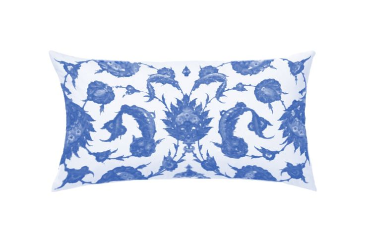 Blue and White Iznik Throw Pillow by Castara Designs. Our new Iznik inspired range of decorative cushions for 2016. Launching at Pulse London.