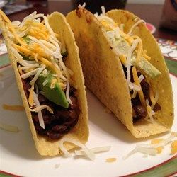 Tasty Lentil Tacos - Allrecipes.com  My alterations: 1 onion 1 cup lentils Sub 14.5 oz can diced fire-roasted tomatoes for salsa Sub can of water for broth Sub spice for taco seasoning  1/2tsp: paprika cumin cayenne  1tsp: oregano garlic powder  2tsp: chili powder