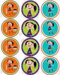 Earth to Luna Cupcake topper Sticker Label Birtg day Mundo de Luna