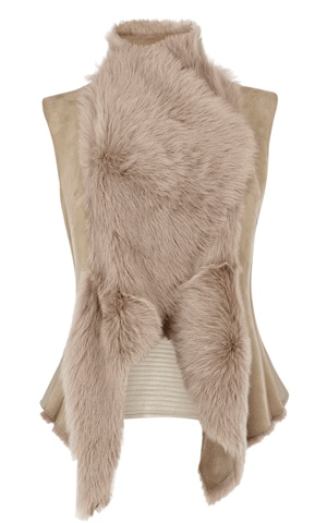 Sheepskin gilet Draped front sheepskin gilet with contrast leather panel trimmed with Karen Millen back neck chain. Price: £495.00
