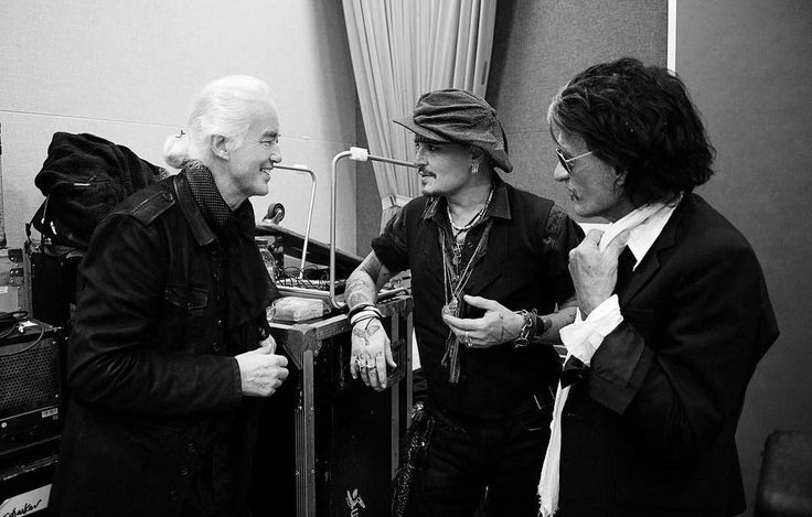 Jimmy Page, Johnny Depp and Joe Perry in Tokyo on November 10, 2016 at rehearsals for the Classic Rock Awards.