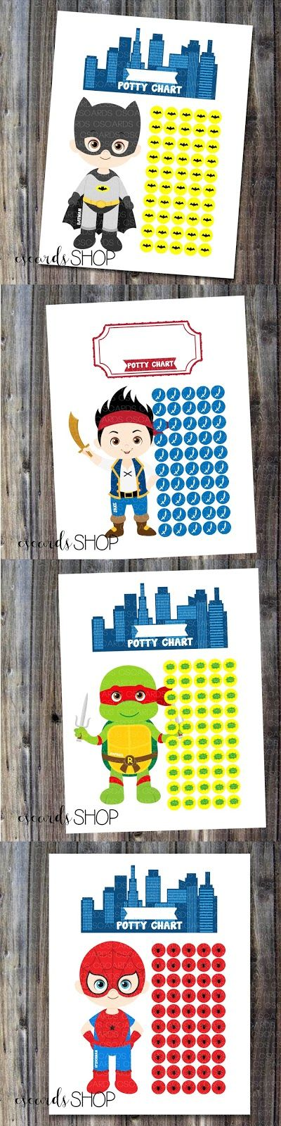 Super cute boy potty training charts! Superhero's, TMNT, Jake and the neverland pirates, Disney and much more! 10 characters to choose from! Only $5 instant download! --CS Cards
