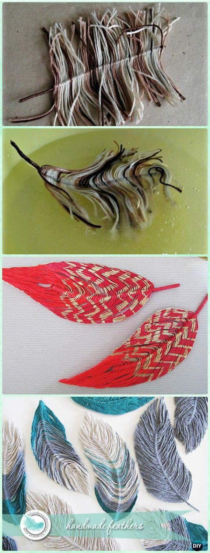 DIY Yarn Feather Instruction - Yarn #Crafts No Crochet
