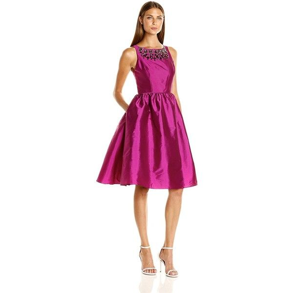 Adrianna Papell Women's Sleeveles Tafta Mid Length Party Dress ($87) ❤ liked on Polyvore featuring dresses, sleeveless beaded dress, mid length dresses, fit flare dress, no sleeve dress and adrianna papell cocktail dresses