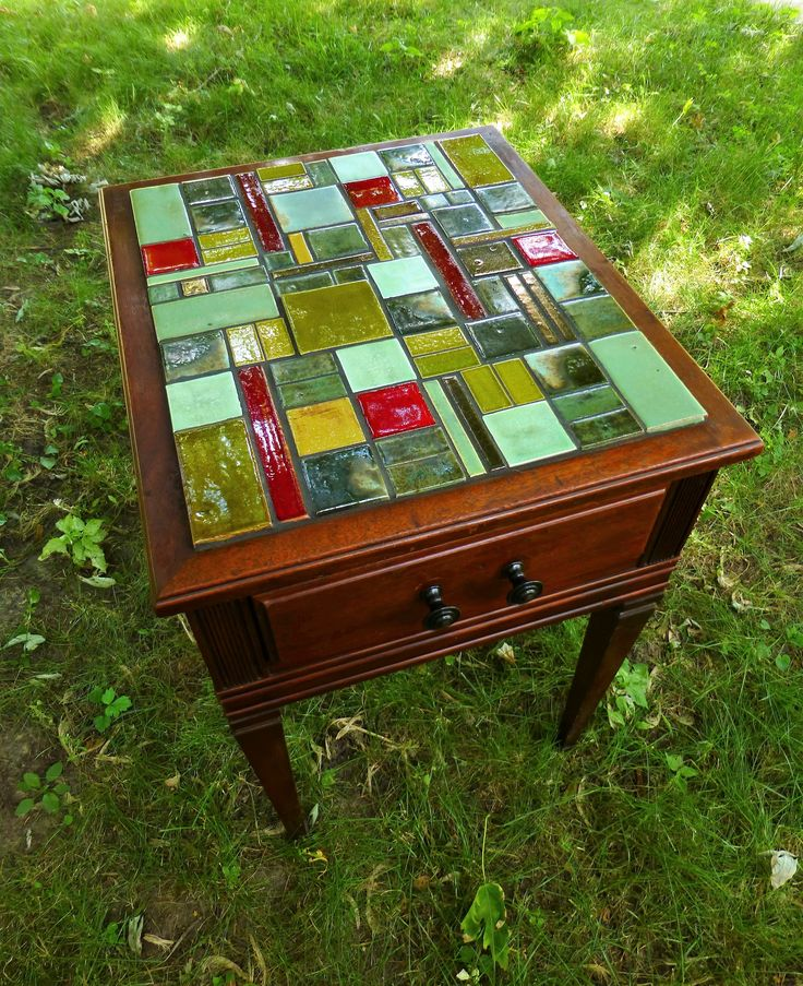 Mosaic Table Top made with Handmade Tile from Mercury Mosaics Workshop - Artist: Lynn Balvin