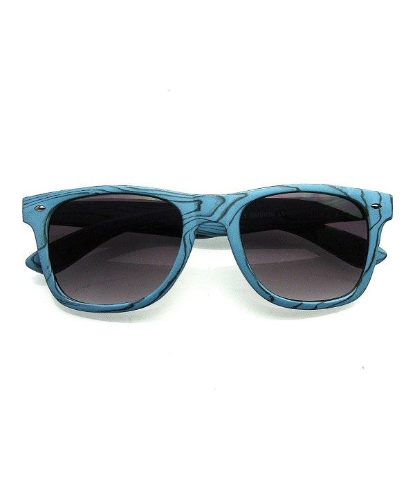 Unique Style Indie Fashion Wood Print Retro Horned Rim Sunglasses – Blue Wood – C711O6RBLKX