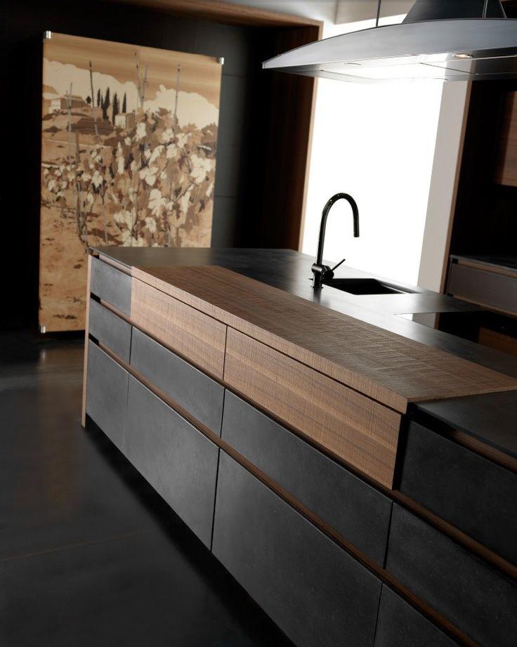 Cucina in cemento con isola WIND CEMENTO ETA NOIR Collezione Wind by TONCELLI CUCINE | design Federica Toncelli