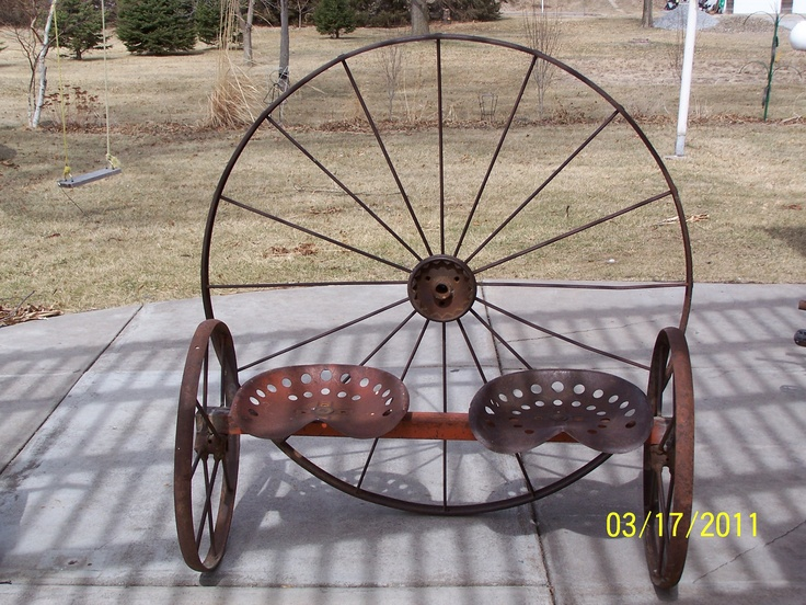 Metal Tractor Seat With Wheels : Antique wagon wheel tractor seat garden bench flower