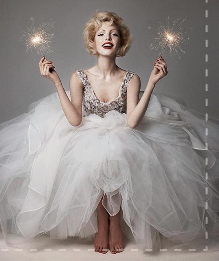 vintage bride with sparklers