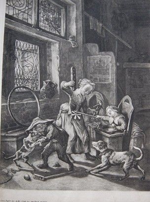 Interior with three playing children; a girl at centre holding a puppet and some bread (?) sidestepping the paper windmill held by the toddler in his highchair at right; in foreground a small boy making a cat stand on its hind legs, thus causing the dog at right to snarl; from a series of four plates published by Gole in Amsterdam. Mezzotint