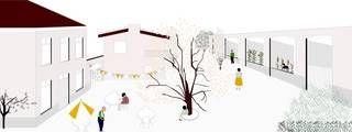 Op dit voorstel zie je links de directeurswoning en rechts de oudste schoolvleugel. Daarvan blijft de voormuur behouden, met volkstuintjes daarachter. Het speelplein is in steen met bomen.-JSA/Murmuur