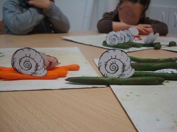 escargots en pâte à modeler chez Julien