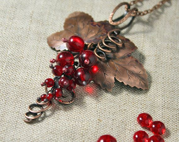 Amazing copper pendant Red berries - Handmade copper pendant with Czekh beads - Red Currant pendant