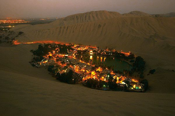 Huacachina, a village in the Ica Region, southwestern Peru.