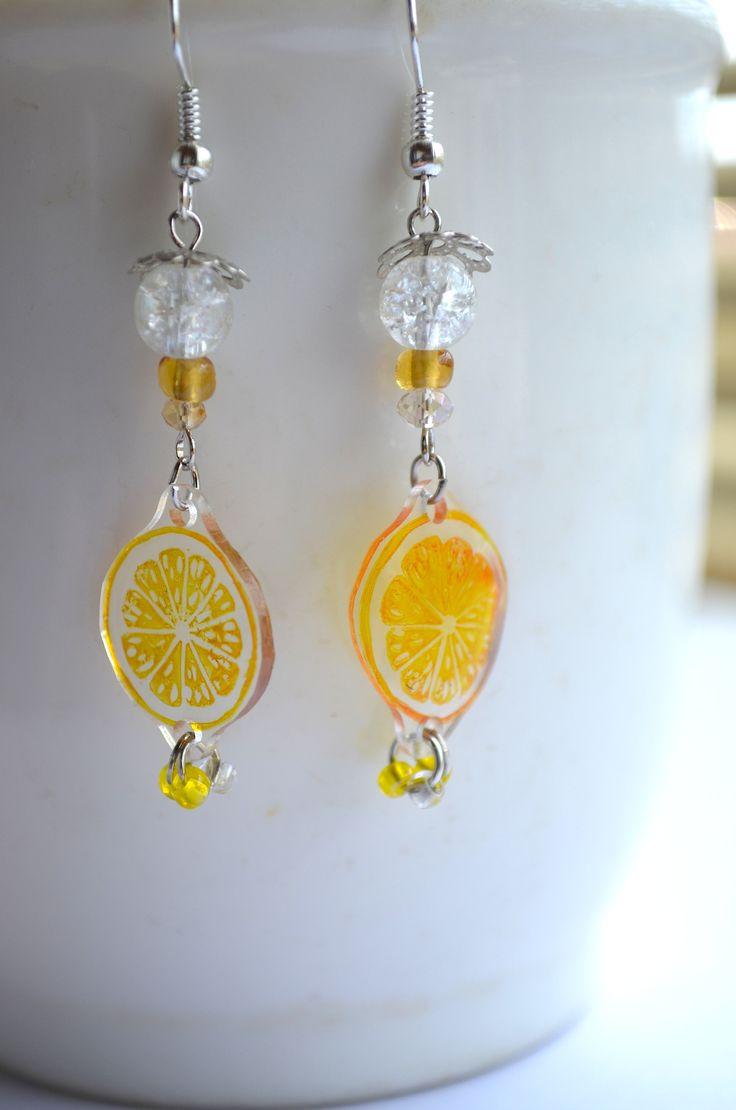 sliced lemon earrings スライスレモンピアス by NanaAkua #shrink plastic #プラバン #プラ板