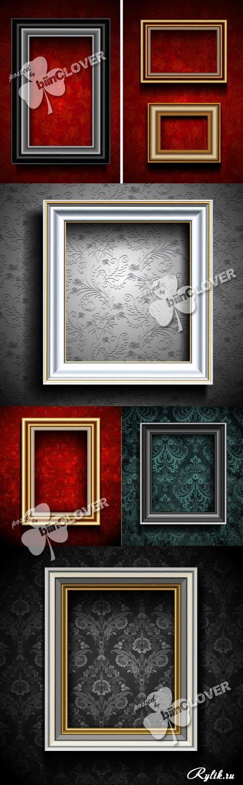 Рамка для фотографии или картины на стене - вектор. Photo frames on wall