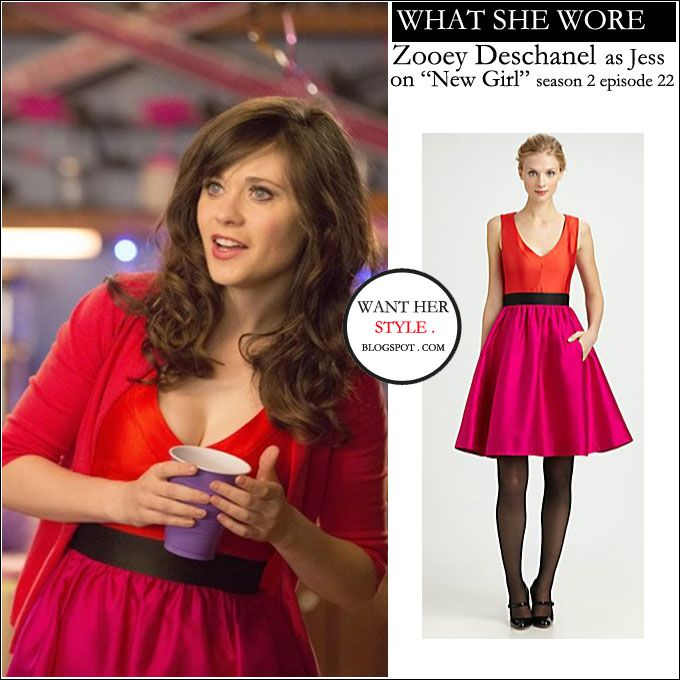 WHAT SHE WORE: Zooey Deschanel as Jess in hot pink and red dress on New Girl season 2 episode 22 ~ I want her style - What celebrities wore and where to buy it