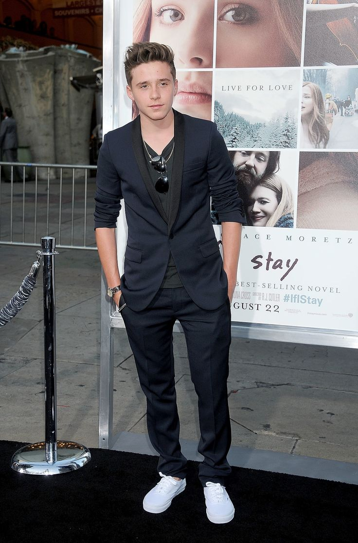 """Brooklyn Beckham came out to support his reportedly girlfriend Chloë Grace Moretz at the premiere of """"If I Stay"""" in LA."""