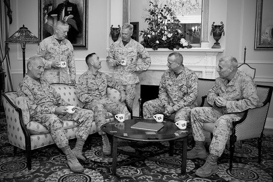 The Marine Corps temporarily had six four-star generals in 2013 -- which had never happened before and is unlikely to happen again any time soon. The generals posed for photos in the Home of the Commandants in Washington, D.C., April 19, 2013. From left to right: John Kelly, James Mattis, Joseph Dunford, James Amos, John Allen, and John Paxton Jr. US Marine Corps photo.