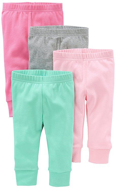 6148c7d4e Simple Joys by Carter's Baby Girls 4-Pack Pant, Pink/Grey, 3-6 Months
