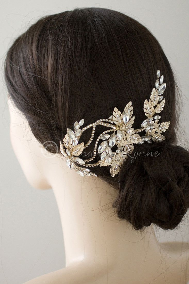 Bridal Headpiece of Frosted Leaves and Marquise Jewels