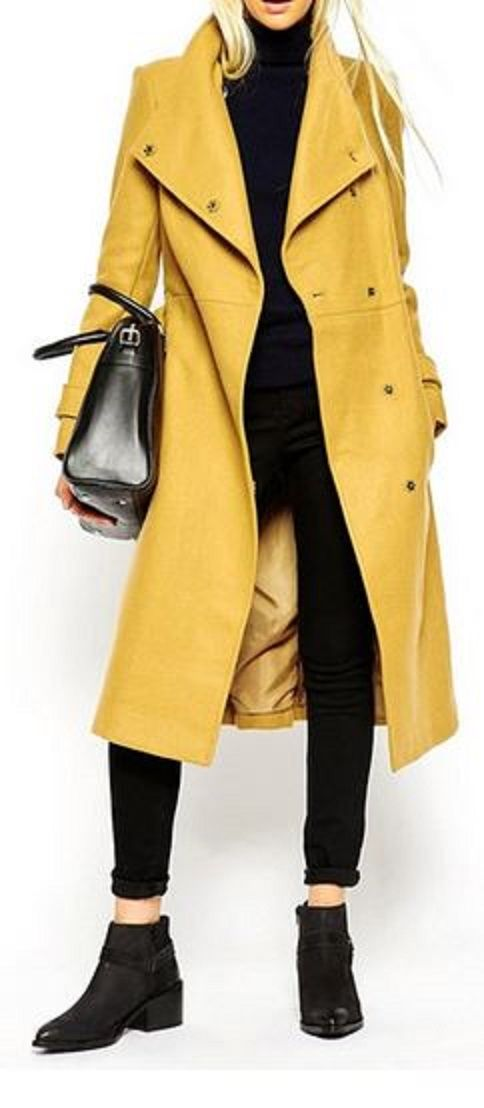 Love this yellow coat but you can have the stupid ass boots w/ankles showing