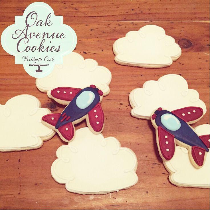 Vintage airplane sugar cookies with royal icing by Oak Avenue Cookies