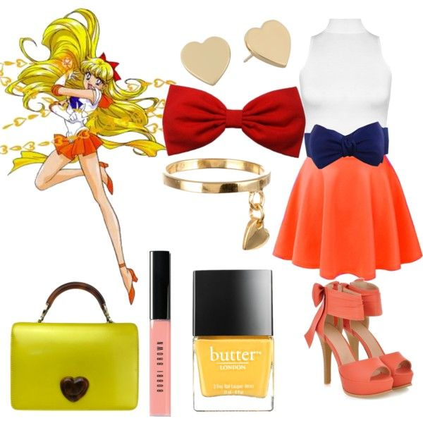 Sailor Venus inspired by girlwith1eyefashion on Polyvore featuring WearAll, JY Shoes, Moschino, Kate Spade, Grace + Scarper, Charm n…