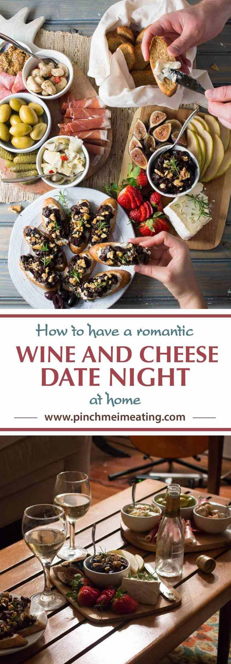 Learn how to plan a low-stress wine and cheese date night at home with these guidelines for putting together charcuterie and cheese boards and tips for setting the mood!