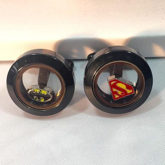 Batman vs Superman, Comic Con, Cufflinks, SuperHero, Superman, Batman, Marvel Jewelry, Marvel Cufflinks, Black Cufflinks, Gift For Men
