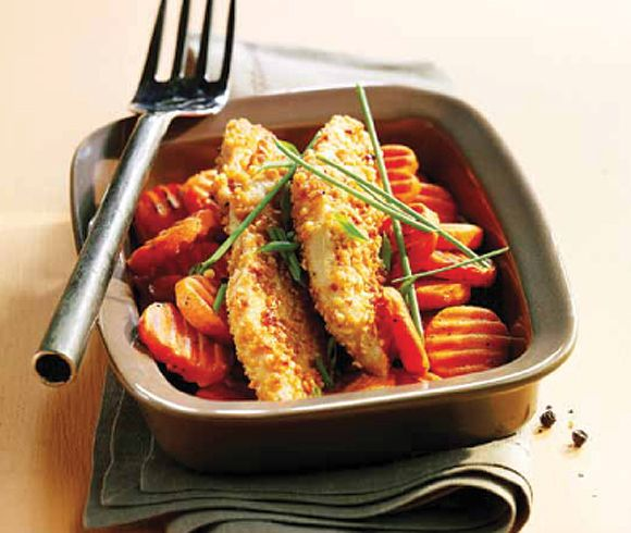 Pechugas de pollo rebozadas con cacahuetes y mostaza #recipes #cuisine