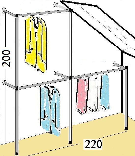 Begehbarer Kleiderschrank,KLEIDERSTÄNDER,KLEIDERSTANGE,GARDEROBE,NEU,Art. W.12