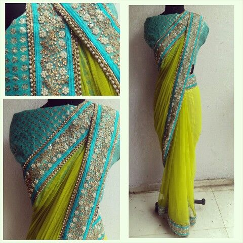 The HYACINTH sari....pure beauty. Lkme green net sari with a beautiful sky blue embelished border.