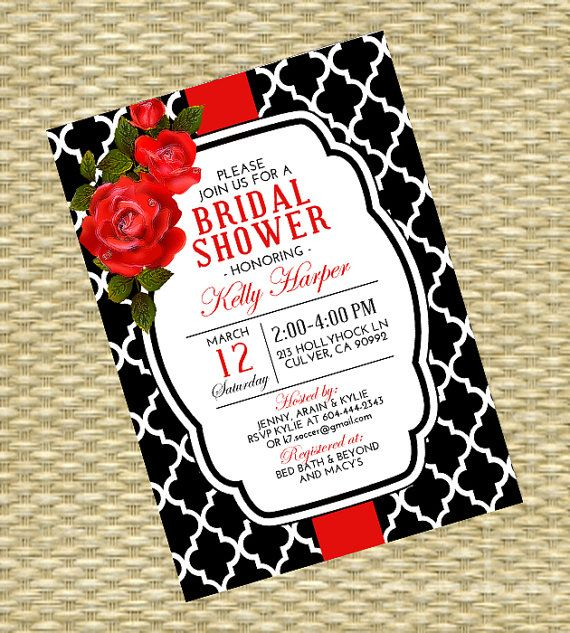 Bridal Shower Invitation  Black Red and by SunshinePrintables, $18.00