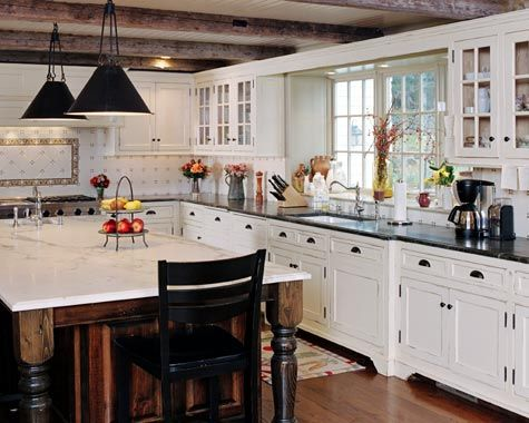 Country-style kitchen. Loads of space. Soft colors. Exposed beams. Gorgeous.: Dreams Kitchens, Contemporary Kitchens, Kitchens Ideas, Country Kitchens, Glasses Doors, Kitchens Cabinets, White Cabinets, White Kitchens, Black Counter