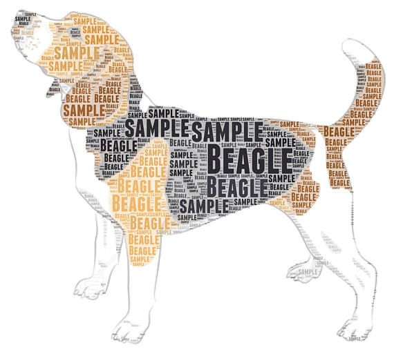 Beagle dog word cloud print. Colour print. Printed onto good quality 220gsm card, using genuine Epson inks. The print can be personalised, I can add names dates and colours and can use all my words, all your own words or a mixture of both. The font can be changed, any of the
