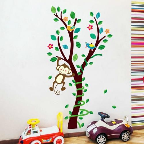 Tree & Swinging Monkey Nursery Wall Sticker